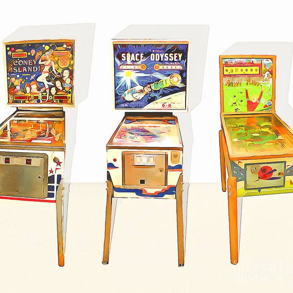 Photograph - Three Pinball Machines 20160226 Square by Wingsdomain Art and Photography