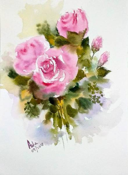 Painting - Three Pink Roses by Asha Sudhaker Shenoy