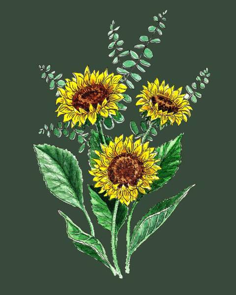 Country Style Painting - Three Playful Sunflowers by Irina Sztukowski