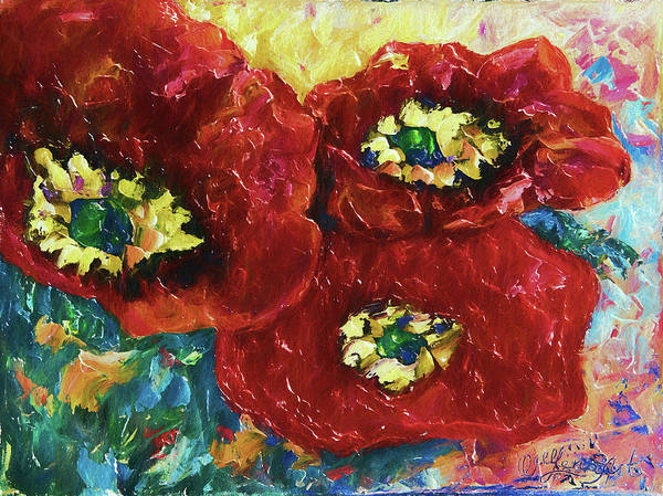 Painting - Three Poppies  by OLena Art Brand