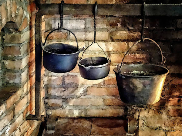 Photograph - Three Pots In Colonial Kitchen by Susan Savad