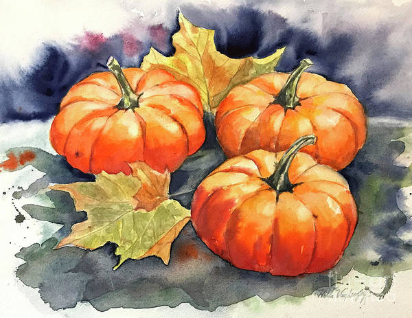 Painting - Three Pumpkins by Hilda Vandergriff