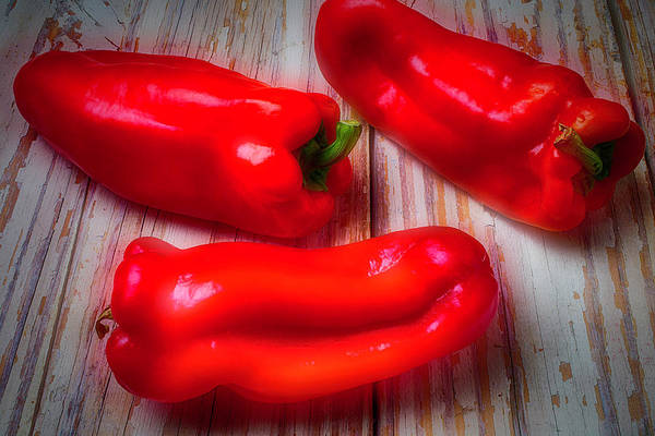 Bell Photograph - Three Red Bell Peppers by Garry Gay