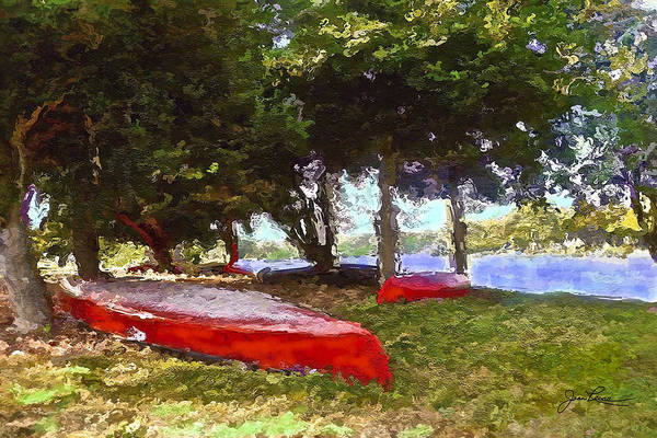 Painting - Three Red Canoes by Joan Reese