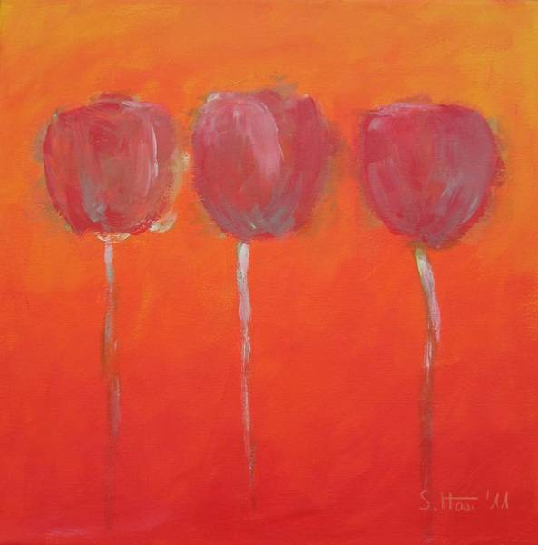 Wall Art - Painting - Three Red Flowers by Sabina Haas