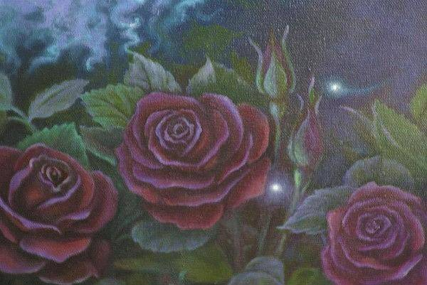 Painting - Three Red Roses by Suzn Smith