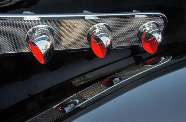 Photograph - Three Red Vents On Black Hot Rod by Gary Slawsky