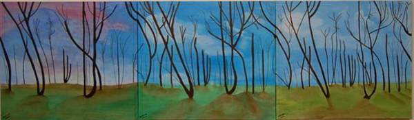 Wall Art - Painting - Three Scenes In The Forest by Aviva Moshkovich