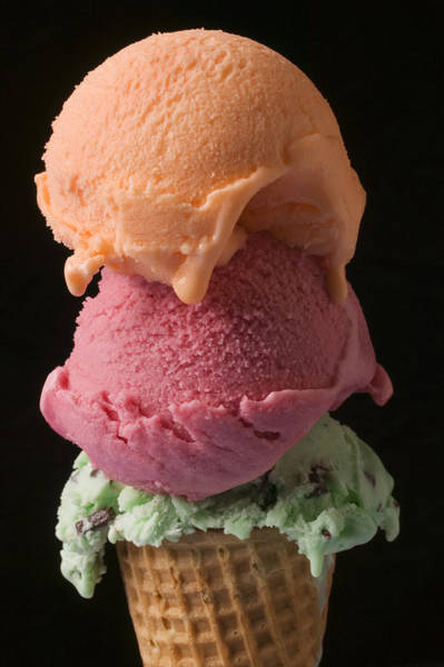 Ice Wall Art - Photograph - Three Scoops Of Ice Cream  by Garry Gay
