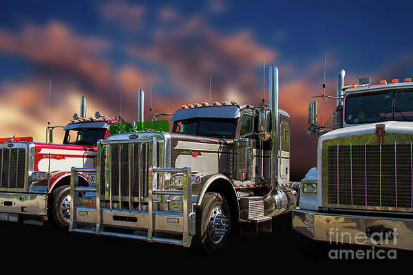 Freightliner Wall Art - Photograph - Three Semi's In A Row by Nick Gray