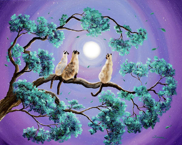 Wall Art - Painting - Three Siamese Cats In Moonlight by Laura Iverson