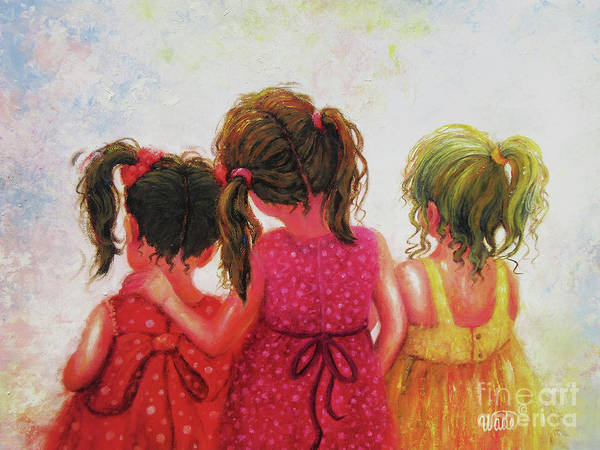 Wall Art - Painting - Three Sisters Brunette, Redhead, Blonde by Vickie Wade