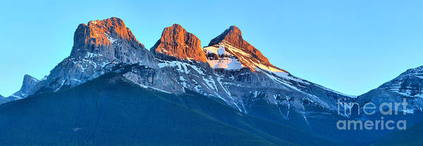 Photograph - Three Sisters Canmore Sunset Panorama by Adam Jewell