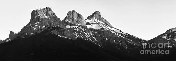 Photograph - Three Sisters Canmore Sunset Panorama Black And White by Adam Jewell
