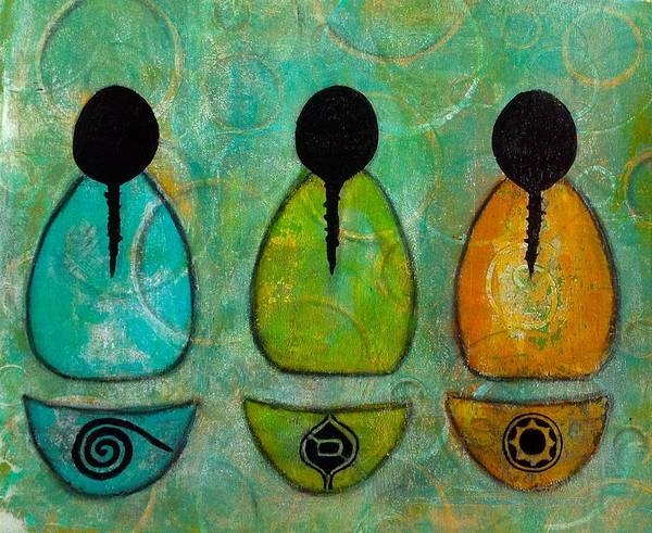 Mono Painting - Three Sisters by Ellen Etzler