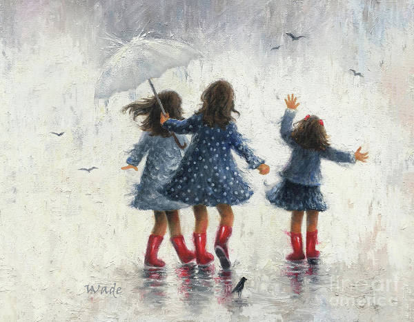 Wall Art - Painting - Three Sisters In The Rain by Vickie Wade