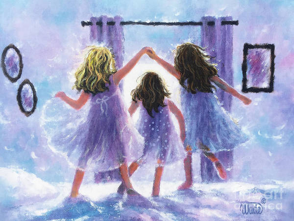 Wall Art - Painting - Three Sisters Jumping On The Bed Blonde Sis by Vickie Wade