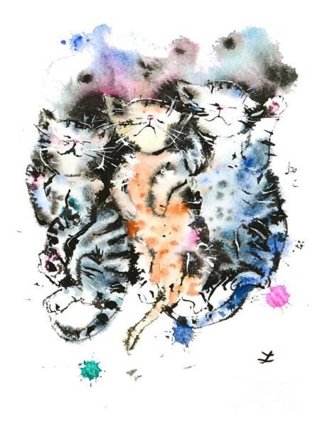 Wall Art - Painting - Three Sleeping Kittens by Zaira Dzhaubaeva