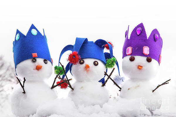 Purple Carrot Photograph - Three Snowmen Kings Dressed With Crowns by Simon Bratt Photography LRPS
