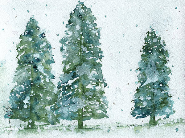 Christmas Tree Painting - Three Snowy Spruce Trees by Dawn Derman