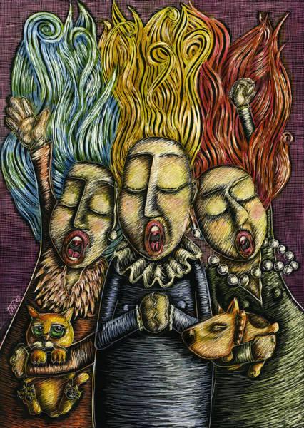 Wall Art - Mixed Media - Three Sopranos by Teresa Nolen Pratt
