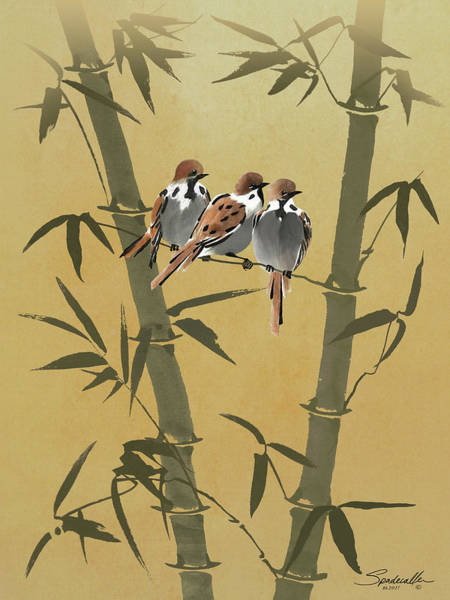 Bamboo Digital Art - Three Sparrows In Bamboo Tree by M Spadecaller