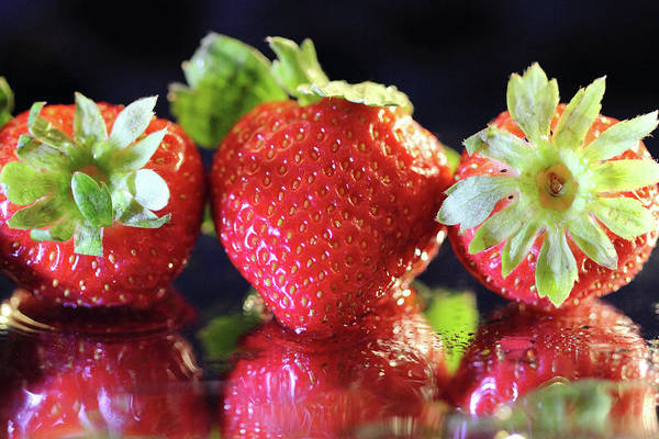 Photograph - Three Strawberries by Angela Murdock