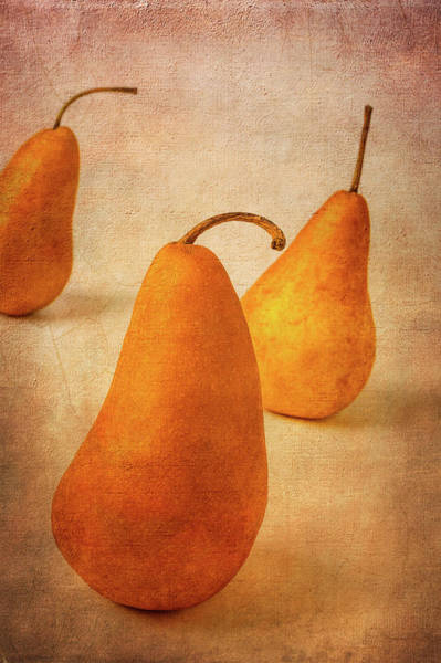 Wall Art - Photograph - Three Textured Pears by Garry Gay