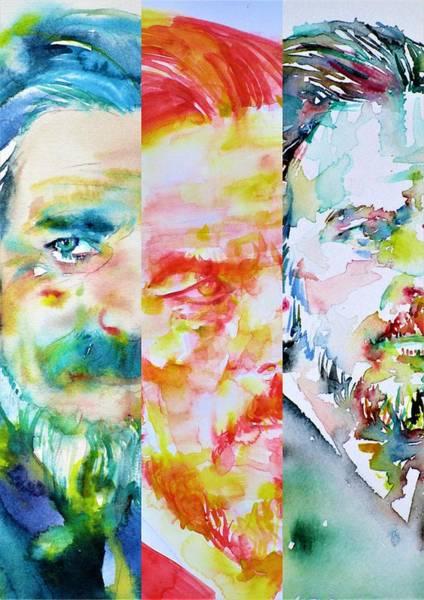 Guru Painting - Three Times Alan Watts by Fabrizio Cassetta