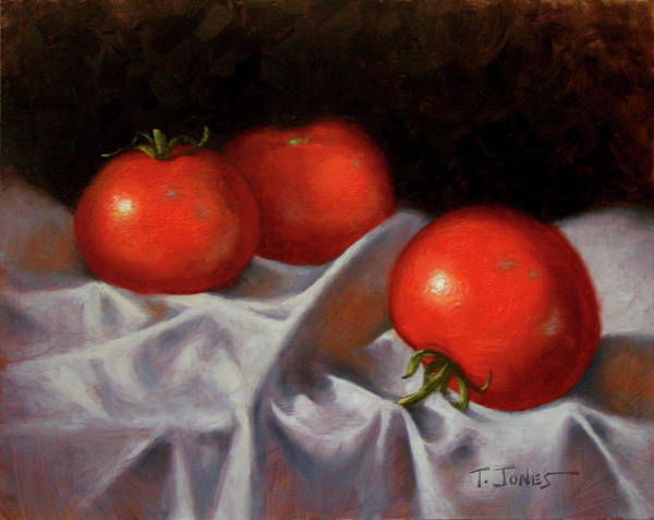 Wall Art - Painting - Three Tomatoes by Timothy Jones