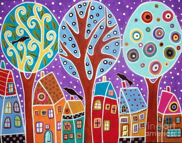 Blackbird Painting - Three Trees Three Birds And Six Houses by Karla Gerard
