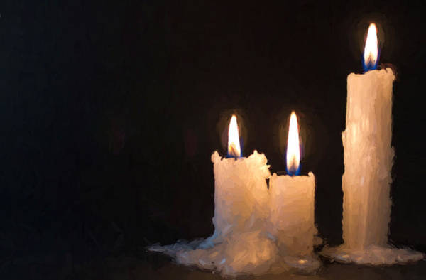 Photograph - Three White Candles Burning At Night Time by John Williams