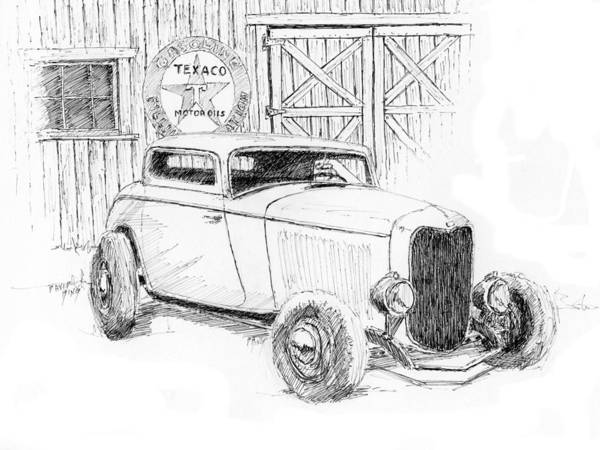 Hot Rod Drawing - Three Window Coupe by David King