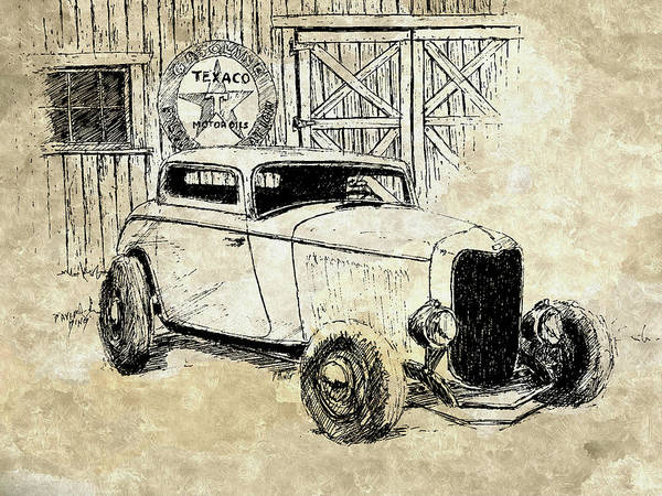 Pen And Ink Mixed Media - Three Window Coupe Mixed by David King