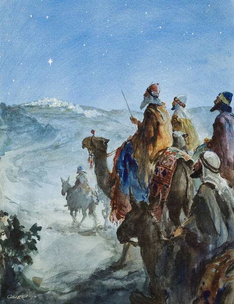 Wise Man Wall Art - Painting - Three Wise Men by Henry Collier