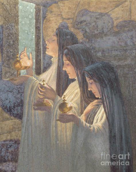 Ascension Painting - Three Wise Virgins by Carlos Schwabe