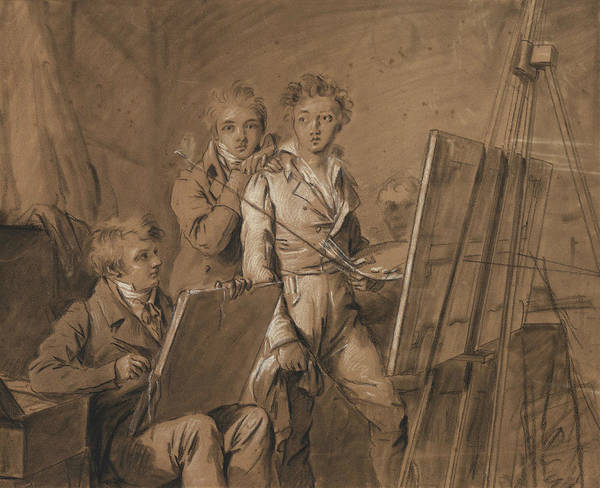 French Artist Drawing - Three Young Artists In A Studio by Louis-Leopold Boilly