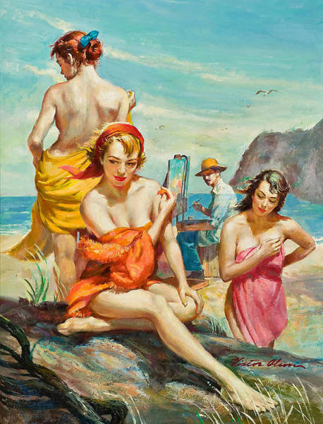 Wall Art - Painting - Three Young Models On The Beach by Long Shot