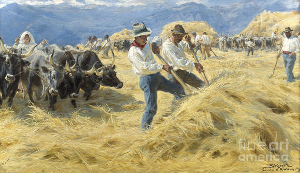 Plowing Painting - Threshing In The Abruzzi, 1890 by Peder Severin Kroyer