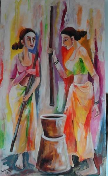 Wall Art - Painting - Thressig Paddy With Motar by Sudumenike Wijesooriya