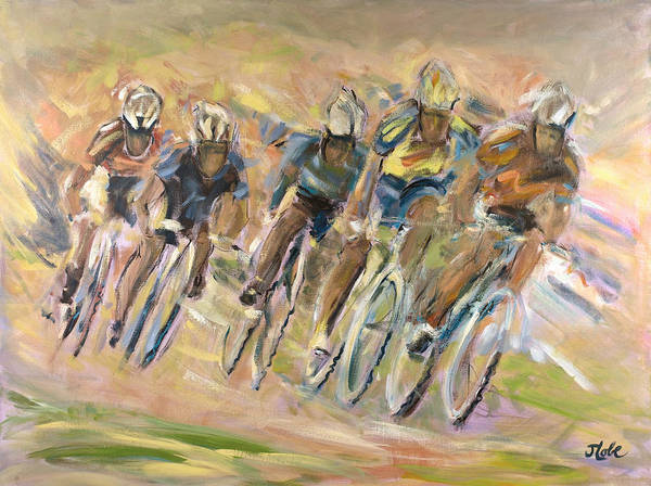 Bicyclist Wall Art - Painting - Thrill Of The Chase by Jude Lobe