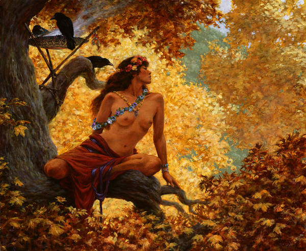 Dryad Wall Art - Painting - Throne Of Gold by Richard Hescox