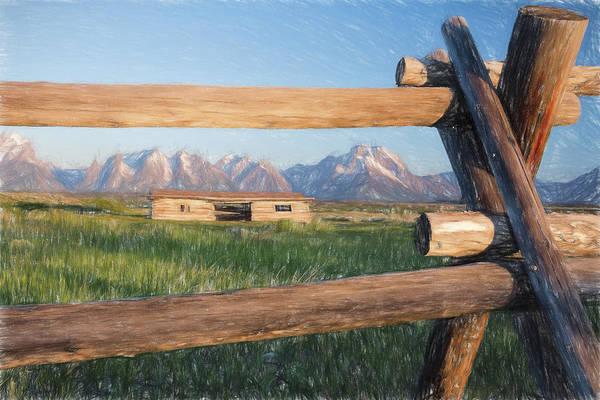 Teton National Park Digital Art - Through A Fence II by Jon Glaser