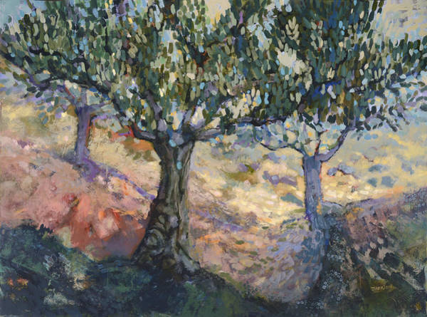 Wall Art - Painting - Through Ancient Olives by Jen Norton