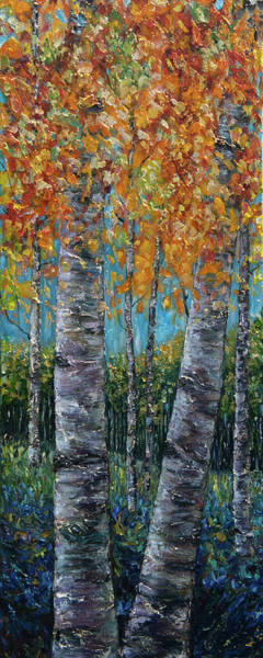 Painting - Through The Aspen Trees Diptych 1 by OLena Art - Lena Owens