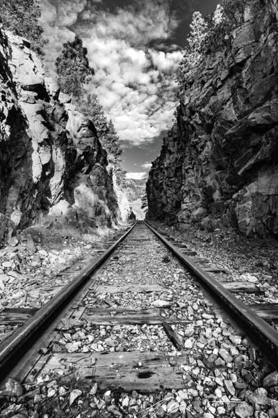 Photograph - Through The Cut - Durango Silverton Narrow Gauge Railroad Tracks - Colorado Monochrome by Gregory Ballos