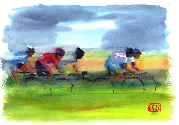 Le Tour De France Wall Art - Painting - Through The Fields 2011 by Shirley Peters