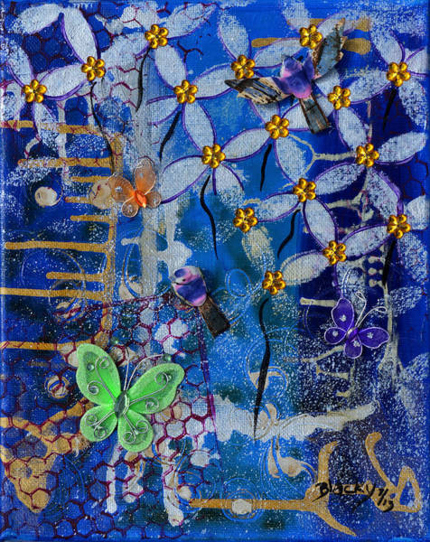Wall Art - Painting - Through The Garden Fence by Donna Blackhall