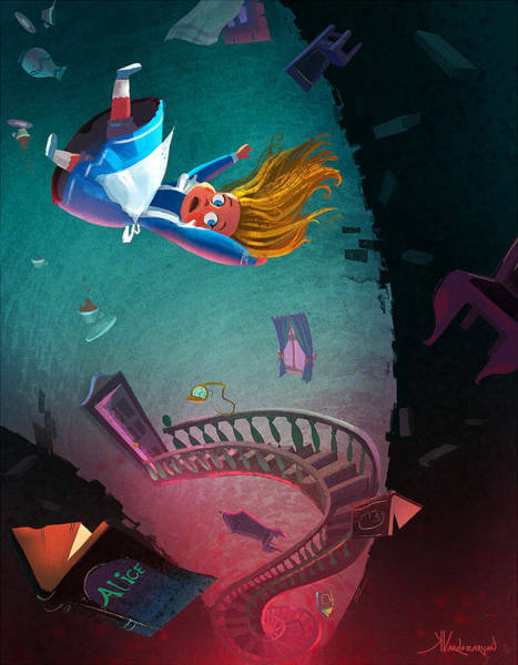 Whimsical Digital Art - Through The Rabbit Hole by Kristina Vardazaryan