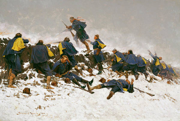 Daring Painting - Through The Smoke Sprang The Daring Soldier by Frederic Remington